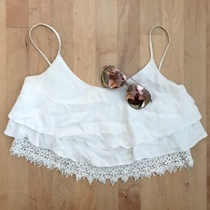 Forever 21 Ruffle Layered White Crop Top